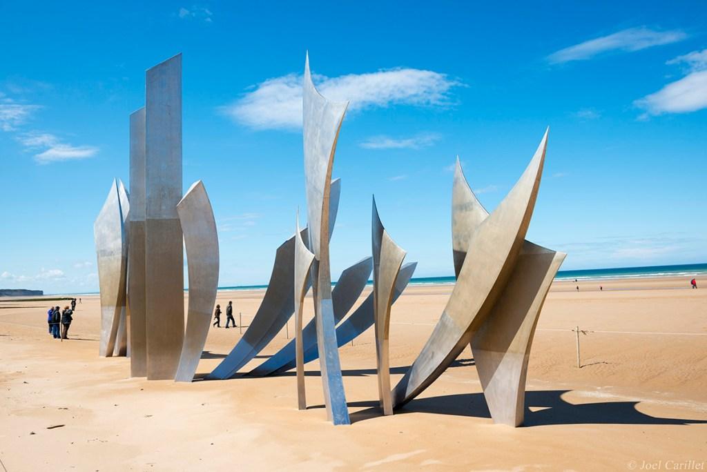 Omaha beach sculpture in Normandy