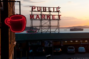 Pike Place Market and ship in Seattle