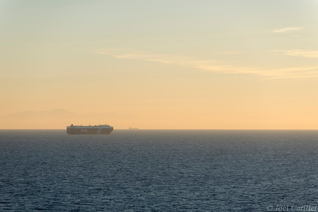 An NYK Line ship sails in the Mediterranean Sea off the coast of Morocco.