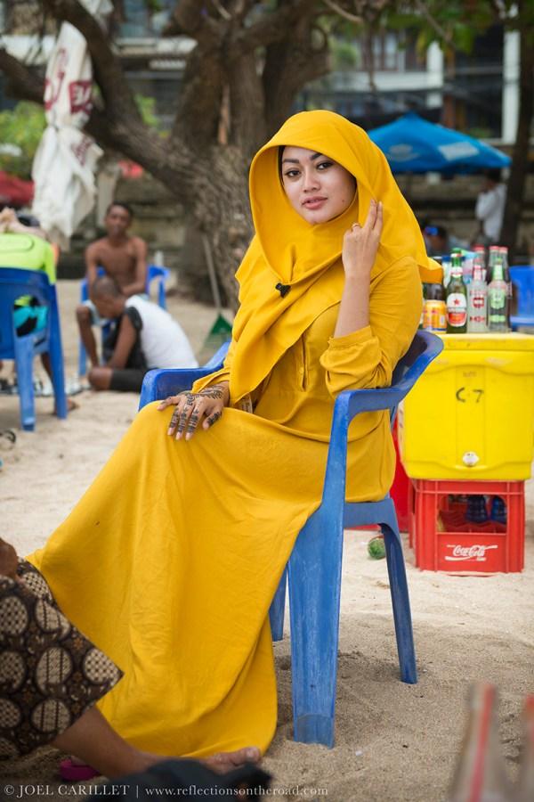Woman at the beach in Kuta, Bali