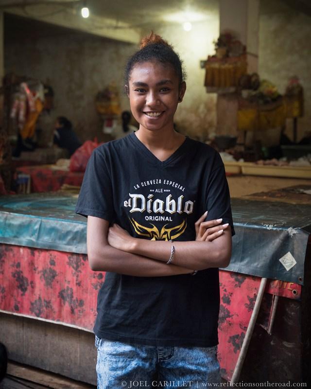 Teenager at market in Ubud, Bali