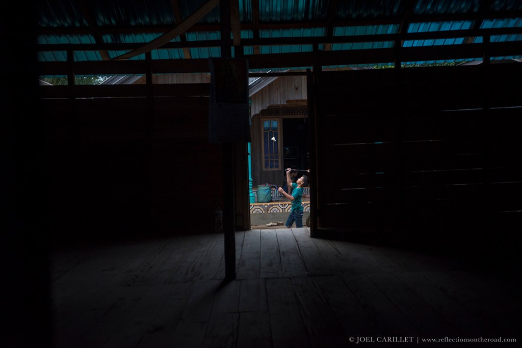 Boy playing Badminton in a village near Loksado, South Kalimantan, Indonesia