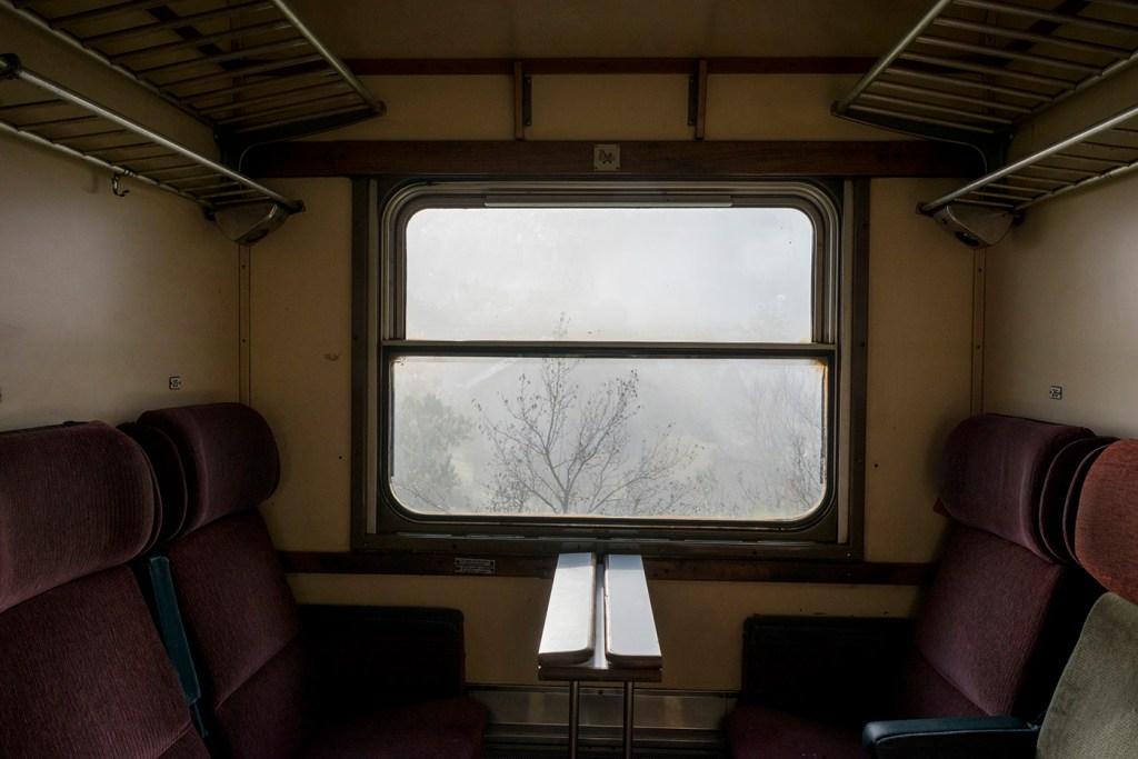Train window in Bosnia