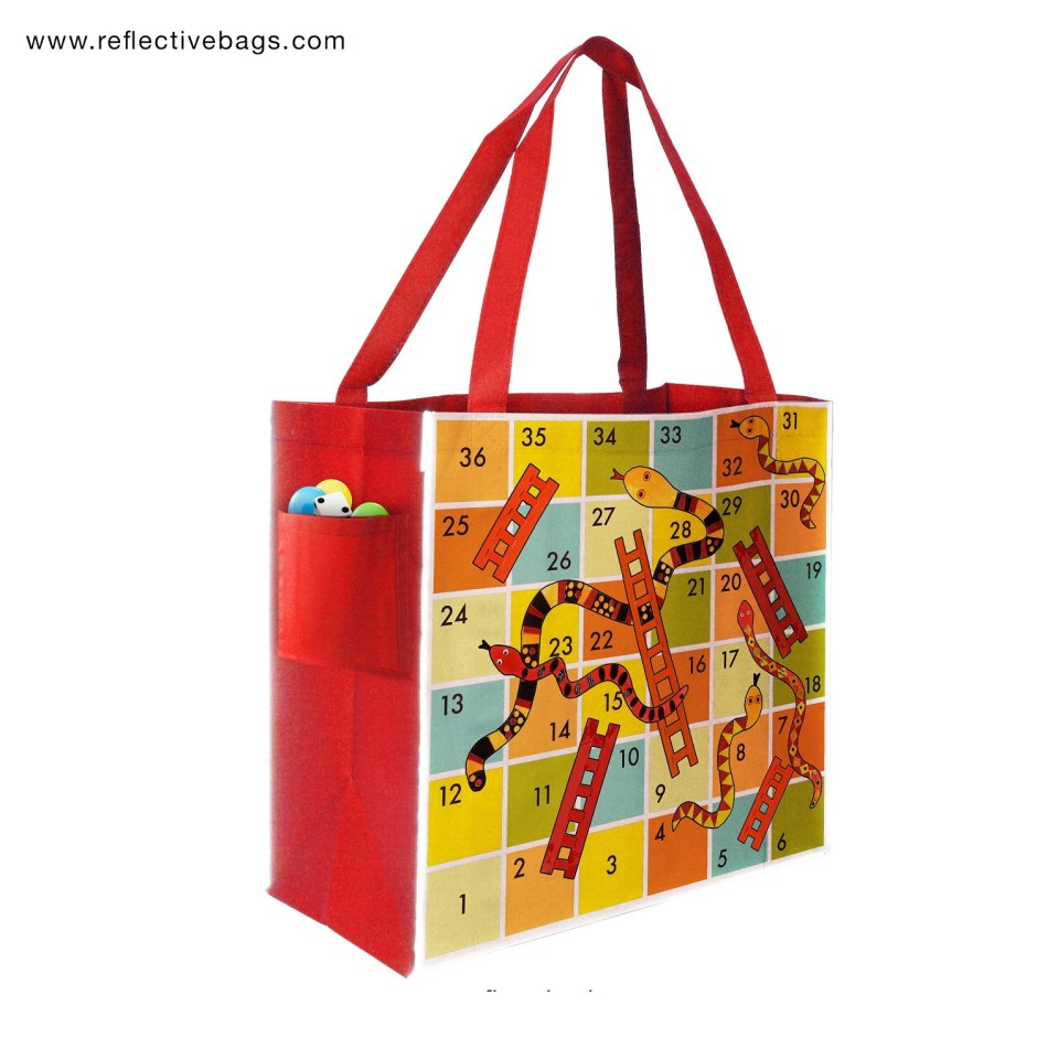 Custom Printed Shopping Bag with Snakes and Ladders Design