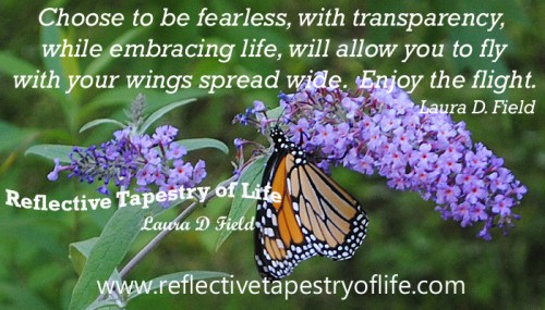 """Choose to be fearless, with transparency while embracing life, will allow you to fly with your wings spread wide.  Enjoy the flight."" ~ Laura D Field ~ Photo taken in my yard, July 2011"