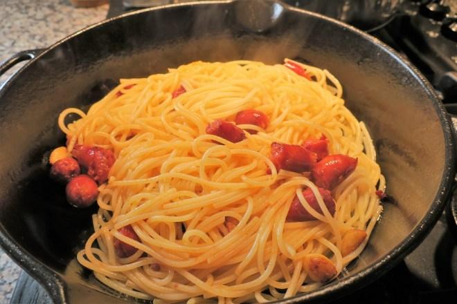 Spaghetti med chorizo