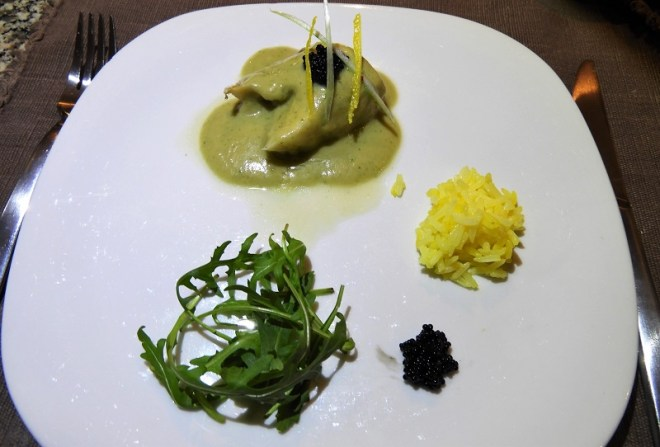Fisketapas: Torskefilet med grøn, cremet sauce