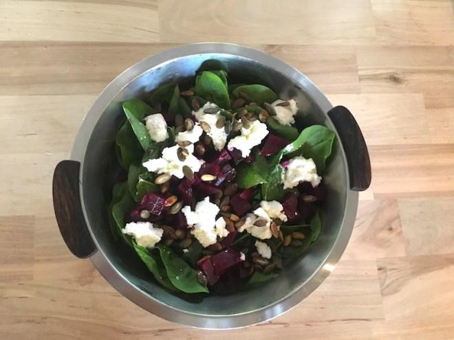Salat af spinatblade
