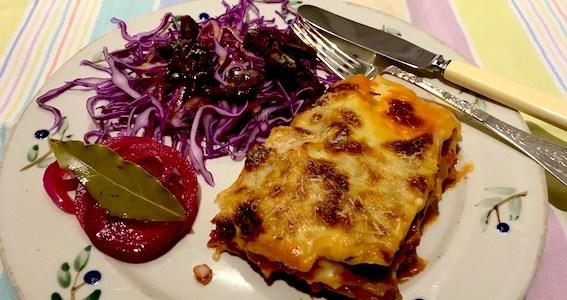 Lasagne med squash og gulerødder