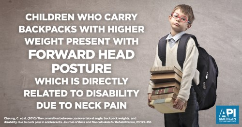 Child carrying heavy backpack causing neck pain