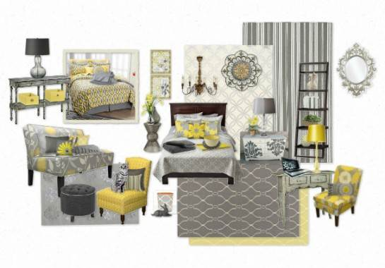 Más ejemplos de decoración con gris y amarillo.