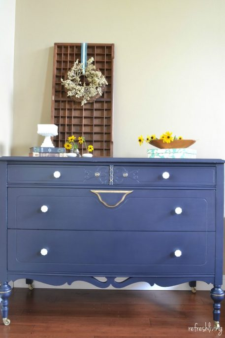 coastal blue dresser with gold accents from Refresh Living