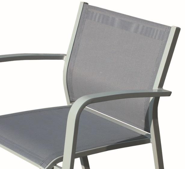 Silla aluminio textilene gris Faro  wwwregaldekorcom