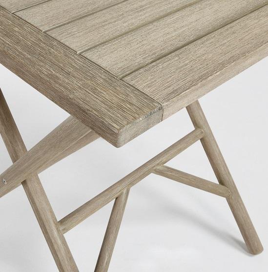 Mesa madera plegable patina gris envejecido 70x70  www