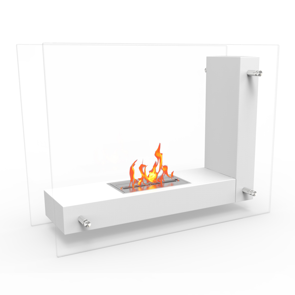 Avec Ventless Free Standing Ethanol Fireplace In White