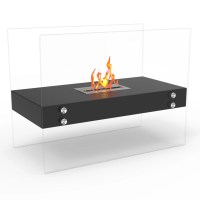 Ionic Ventless Free Standing Ethanol Fireplace in Black