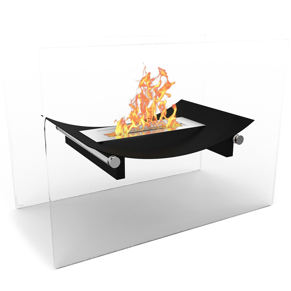 Bow Ventless Free Standing Ethanol Fireplace In Black