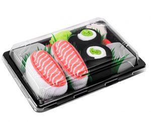 calzini confezionati come fossero un piatto di sushi