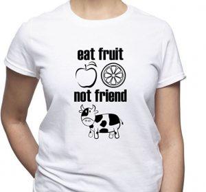 maglietta mangia la frutta non gli amici