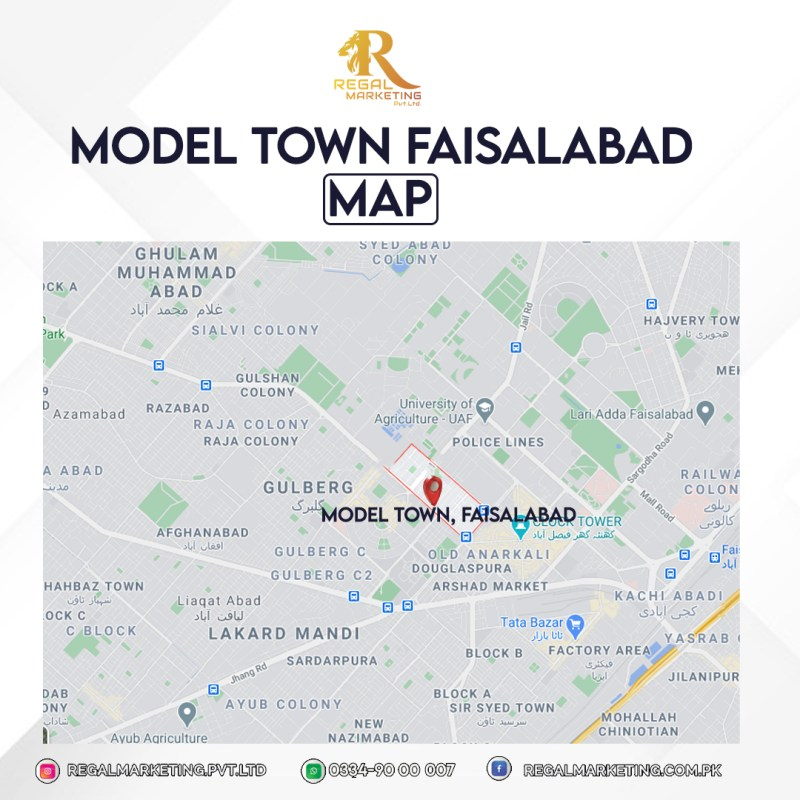 model town faisalabad location map