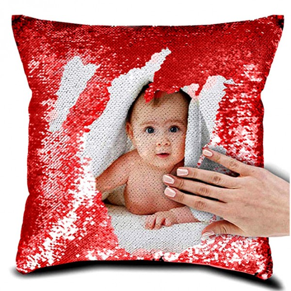 personalized sequin cushion magic reveal photo