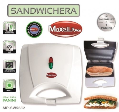 SANDWICHERA ELECTRICA 750W Panel Grill Panini ANTIADHERENTE mp-sw6532