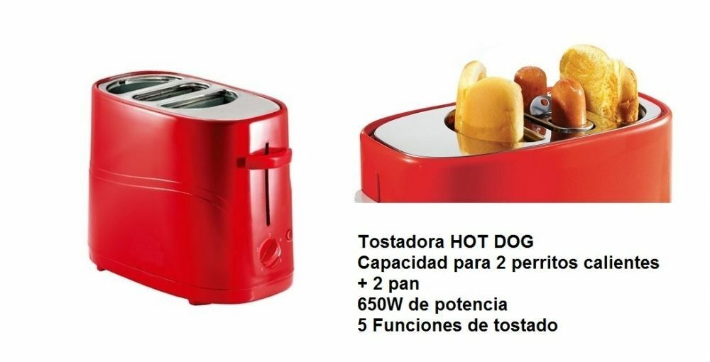 TOSTADORA PARA PERRITOS CALIENTES HOT DOG 650W CAPAC. 2 PERRITOS Y 2 PANES