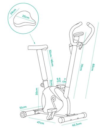 medidas bicicleta estatica