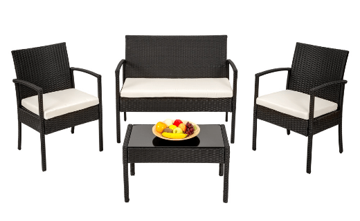 Juego de muebles de jardín color negro