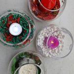 Centros de Navidad fáciles con velas y peceras
