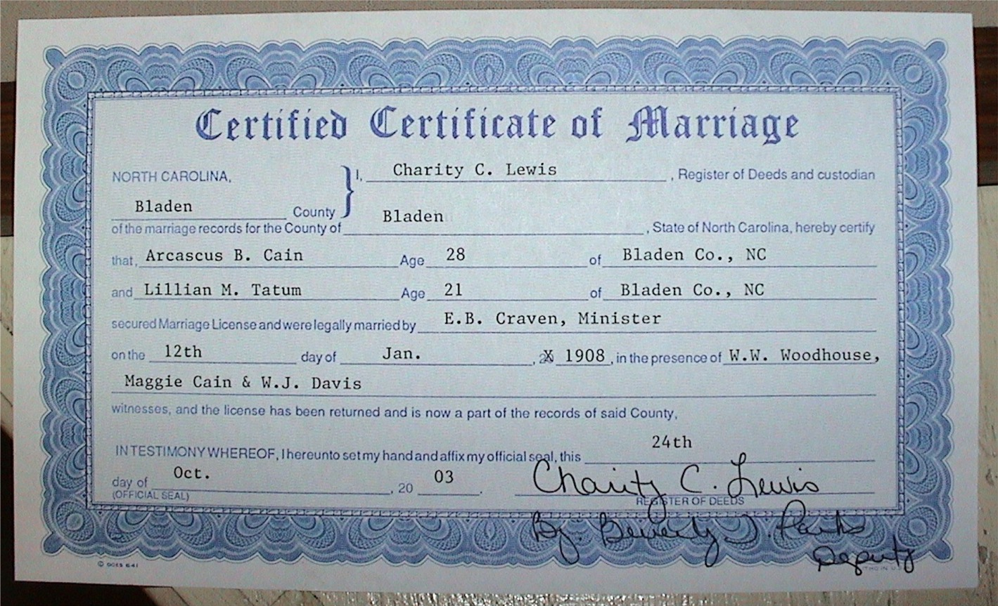 Blank Marriage Certificate Nc