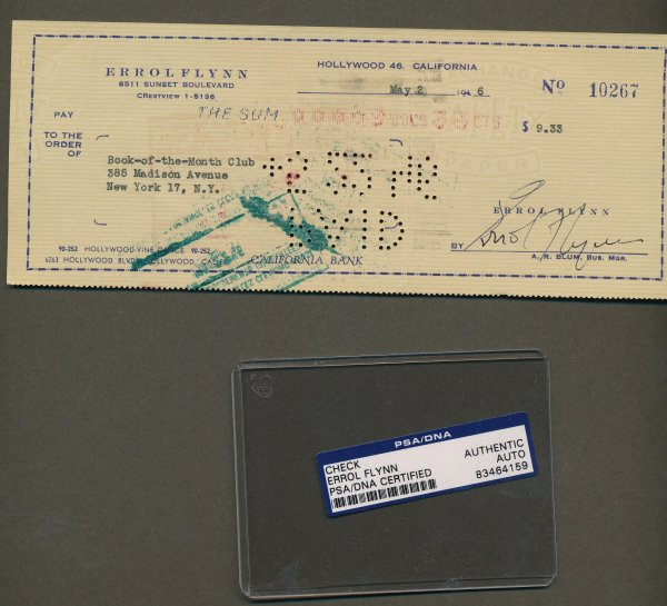Flynn Errol - Signed Check 1946 Matted Display