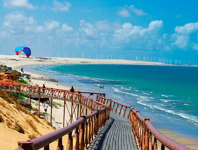 La plage de Canoa Quebrada au Brésil