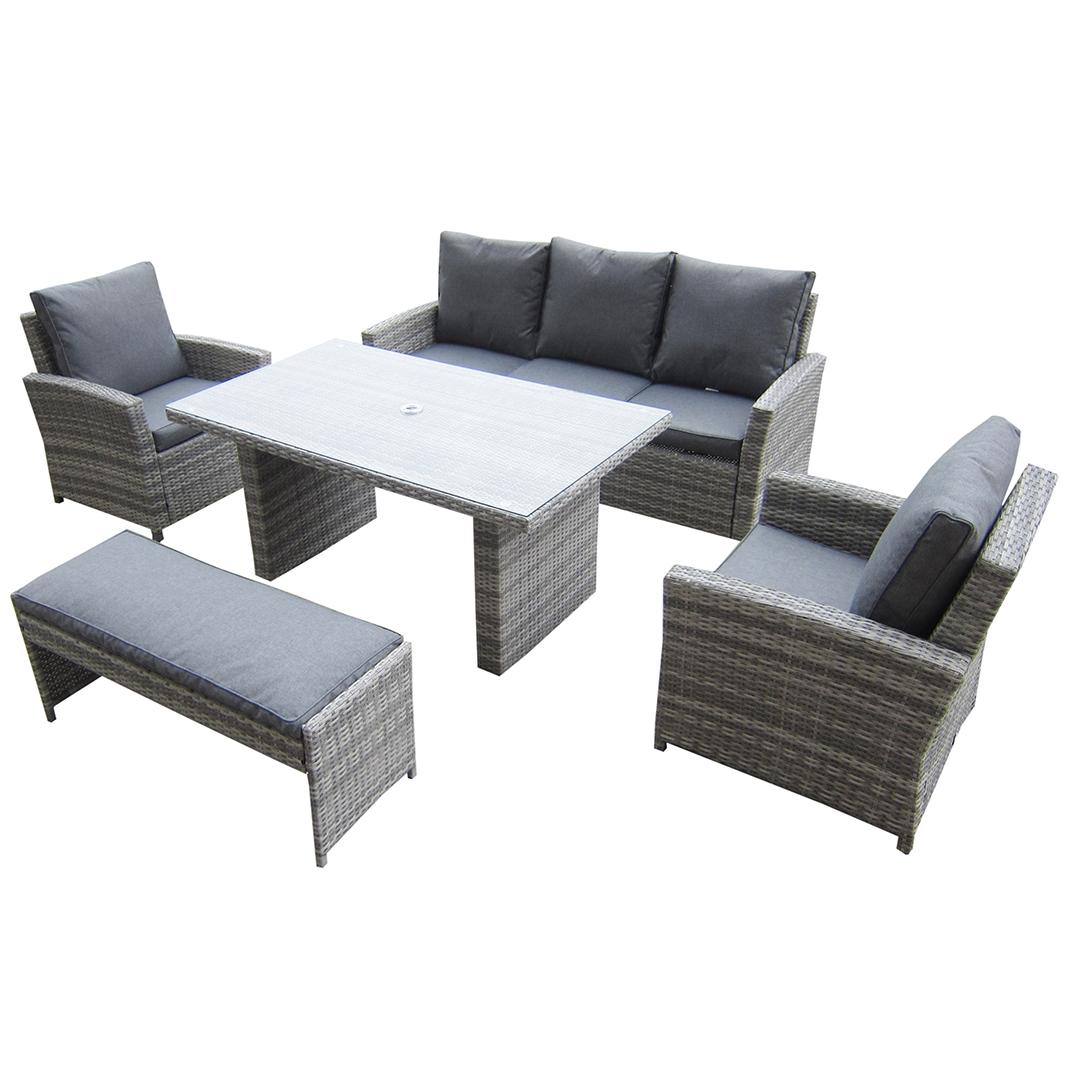 garden corner sofa with dining table single beds australia kensington malmo 5pc set 2 armchairs 3 seat height bench granite