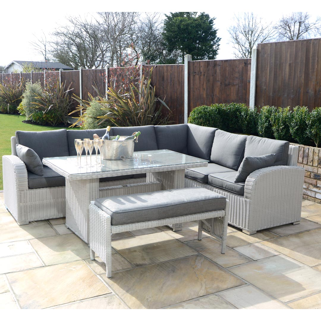 garden corner sofa with dining table small curved sectional outdoor set contempo 5 piece lounge