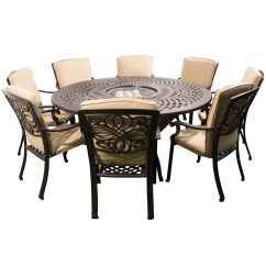 Round Table And Chair Set Vintage Leather Club Chairs Kensington Firepit Grill 8 Dining With 180cm