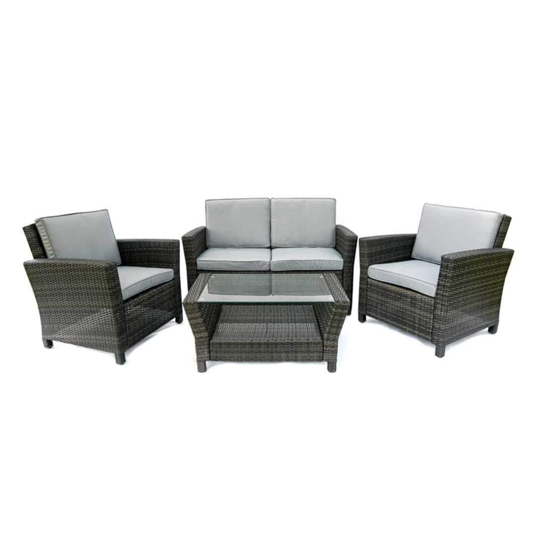 6pc outdoor patio garden wicker furniture rattan sofa set sectional grey moderno e confortavel sets