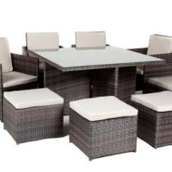 Sofa Seat Height 60cm Silver Leather Tufted Kensington Club 9 Piece Rattan Cube Set