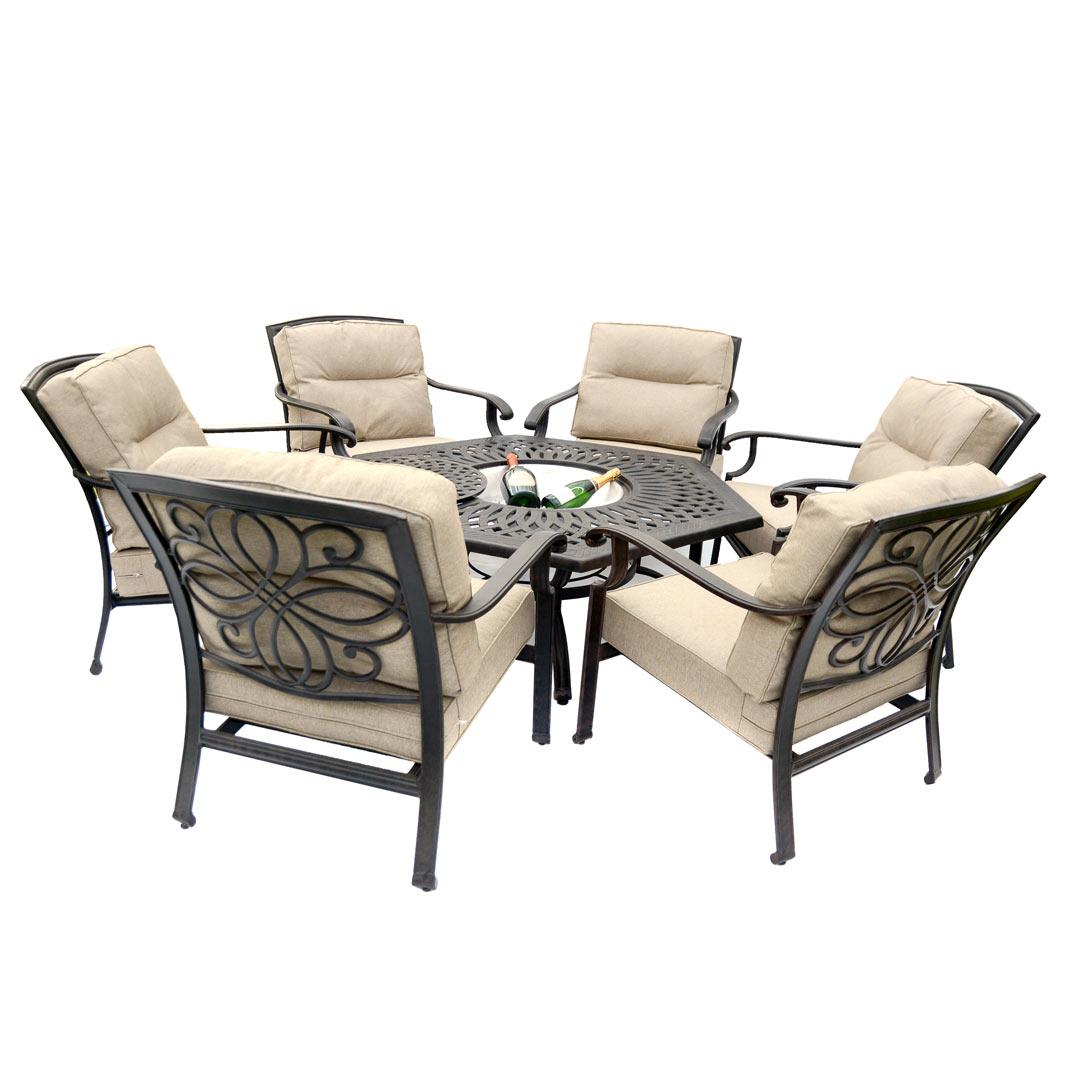 Kensington Firepit & Grill 6 Chair Firepit Set with 150cm