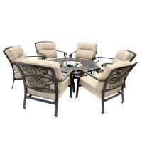 Kensington Firepit & Grill 6 Chair Firepit Set with 150cm ...