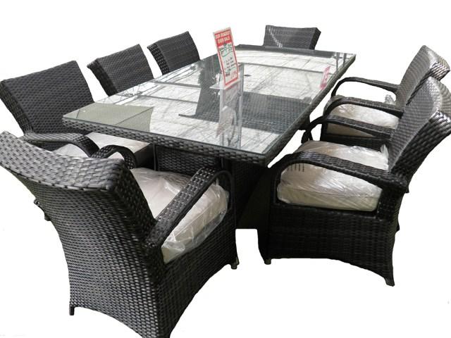 kensington club 2x1 table with 8 arizona dining armchairs - grey