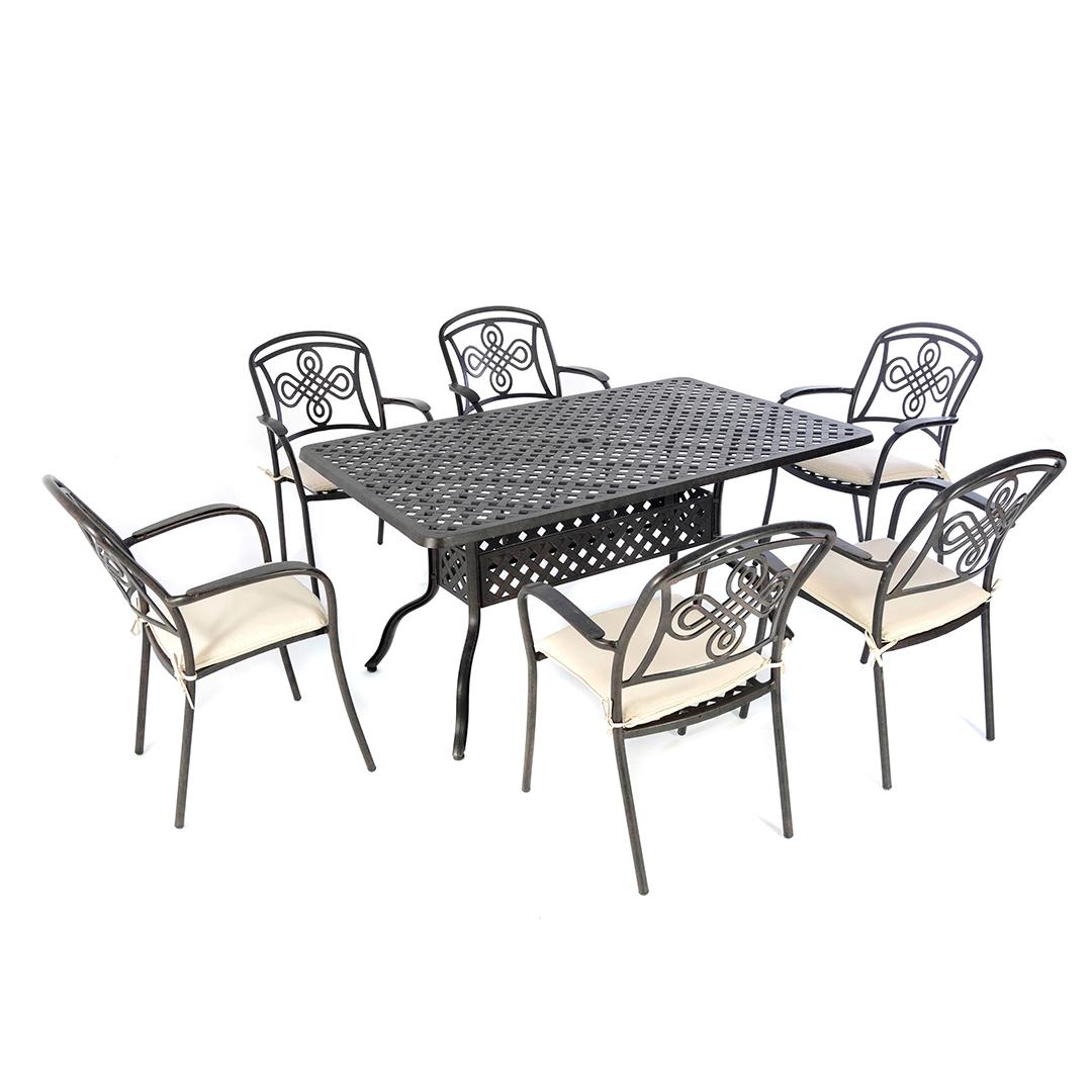 6 Seat Cast Aluminium Outdoor Dining Sets