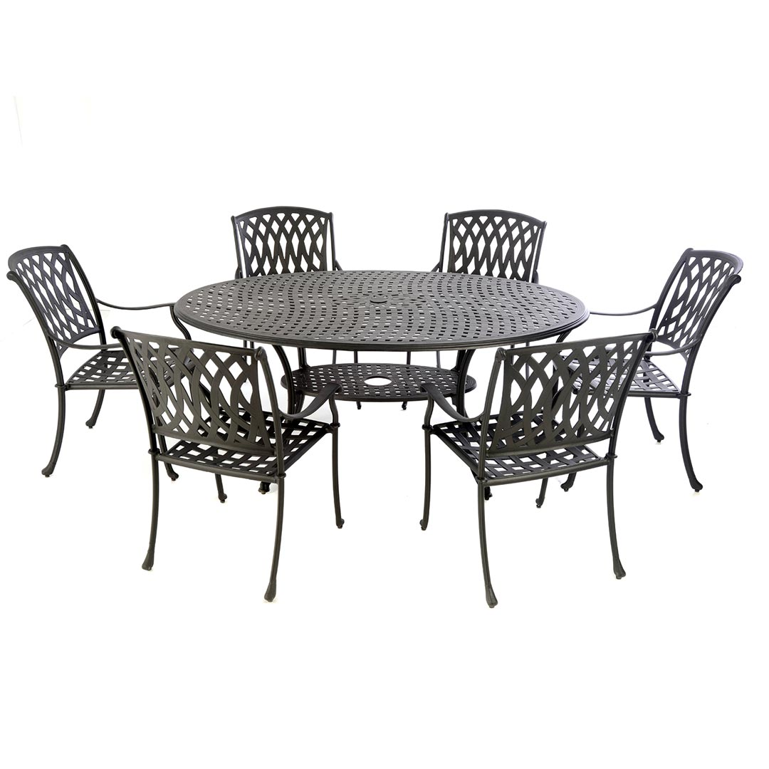 Cast Aluminium 170 Oval Table With 6 Venetian Chairs