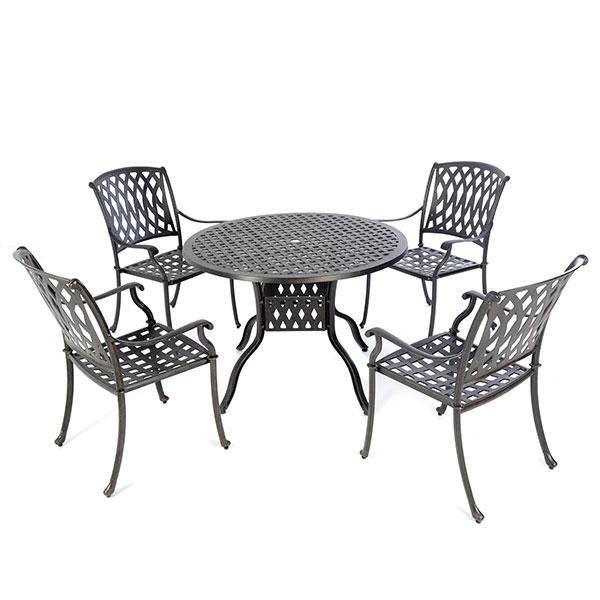 Cast Aluminium 106cm Round Table With 4 Venetian Chairs