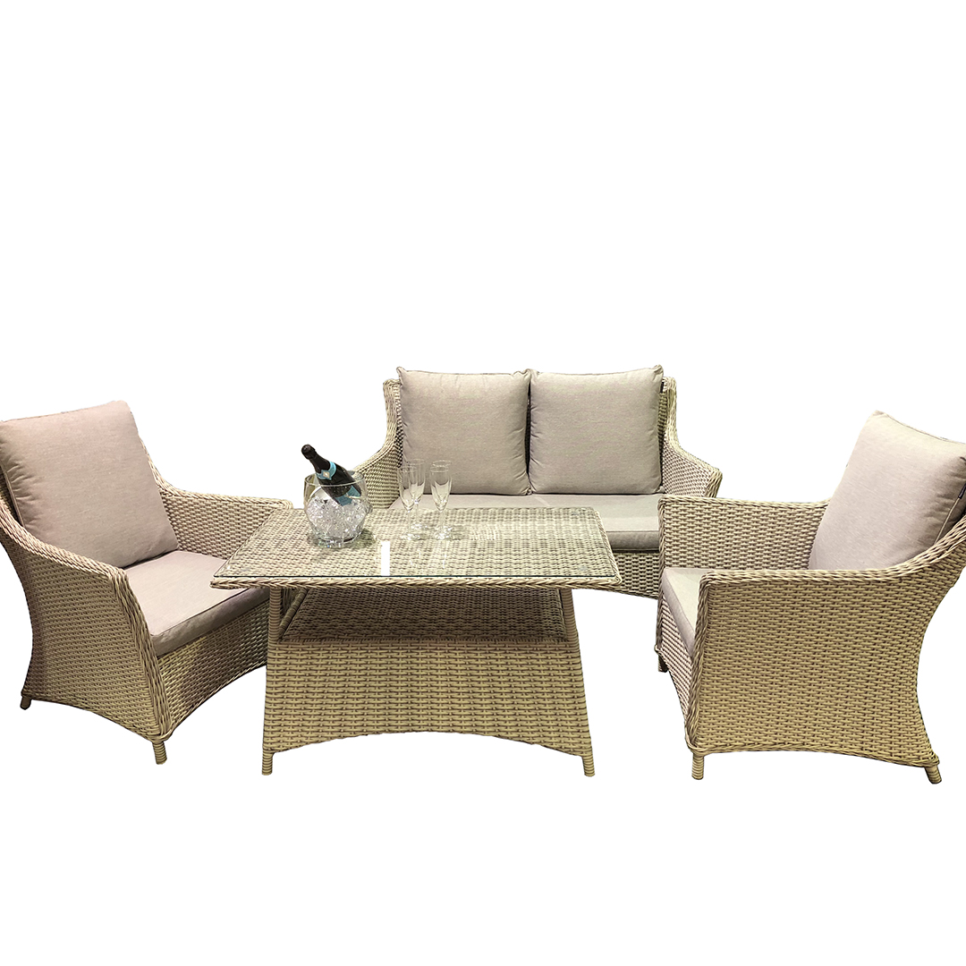outsunny 4pc rattan wicker outdoor patio furniture sofa set down blend upholstery wayfair co uk