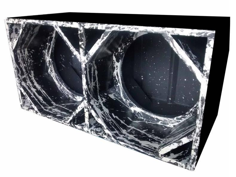 """Cod 447 - Box Canhão 2x15"""" Preto com Prata"""