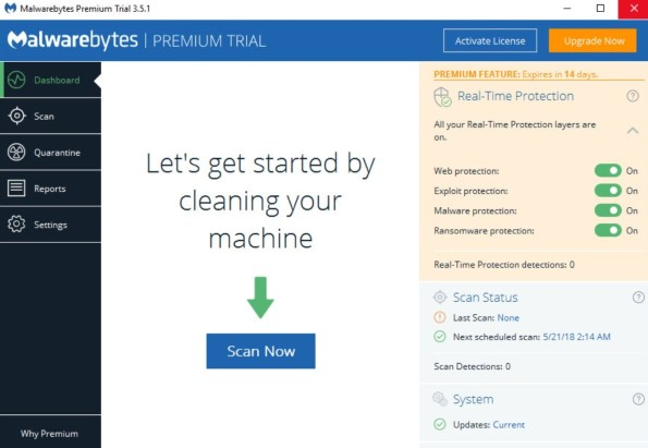 Malwarebytes User Interface