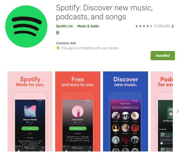 Spotify on Google Play Store