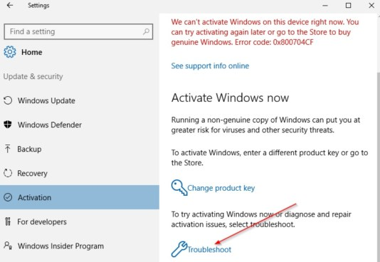 activation troubleshooter windows 10