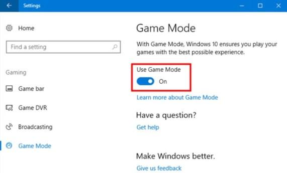Window 10 Game Mode